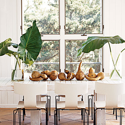 1 decorate your living room table with green Use a color bination of white as the background and have gigantic antherium leaf set the theme on the