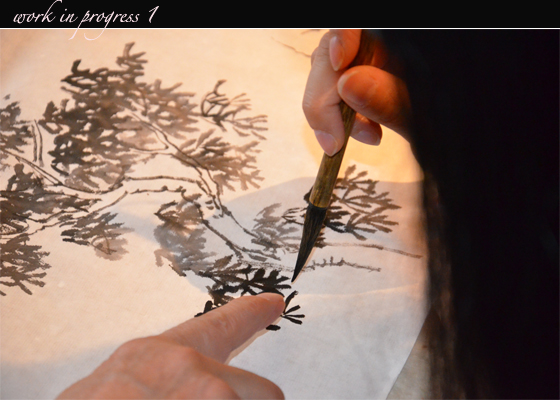 ping Chinese Ink Painting work in progress 1